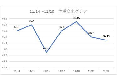 2020年11月13日から203日体重変化グラフ