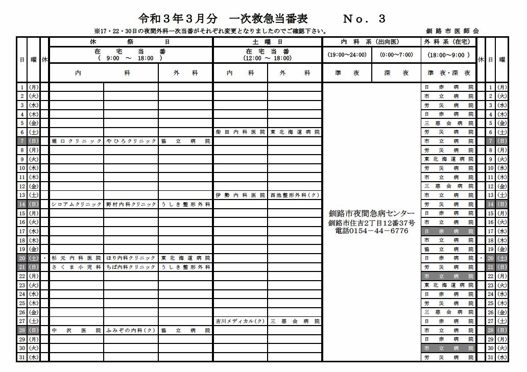 3月一次救急当番表