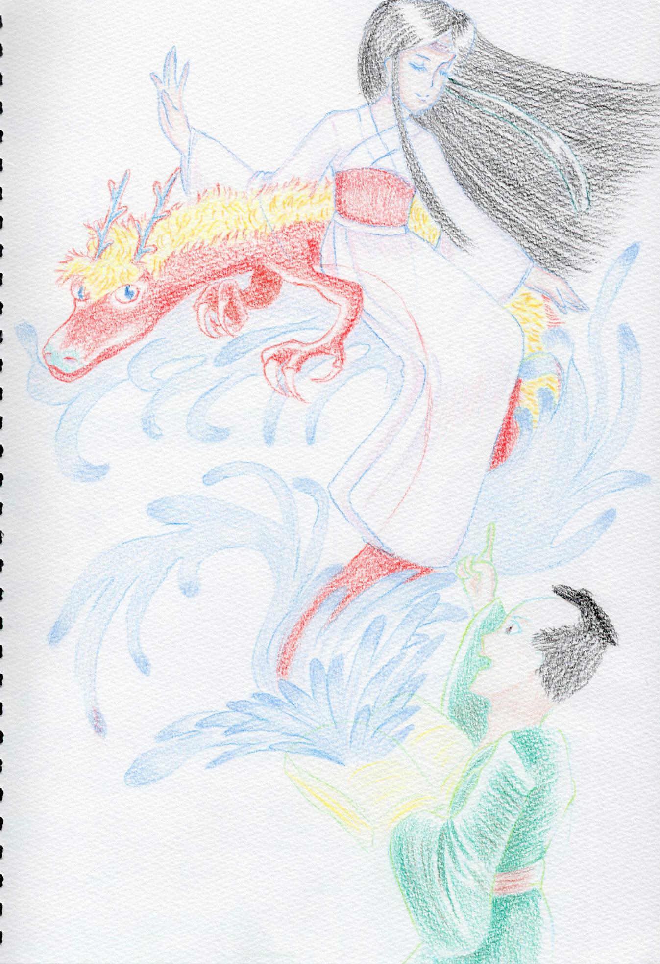 本から龍と美女