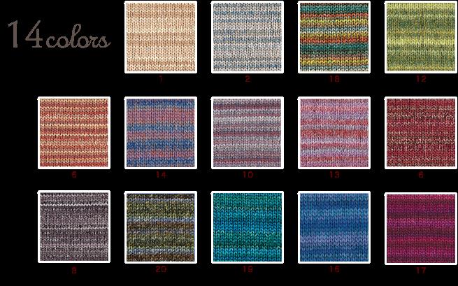 ハマナカフーガでメリヤス編み段染め毛糸