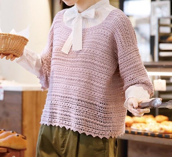 無料編み図かぎ針編みピエロクシェル春夏クロッシェ編みのプルオーバー