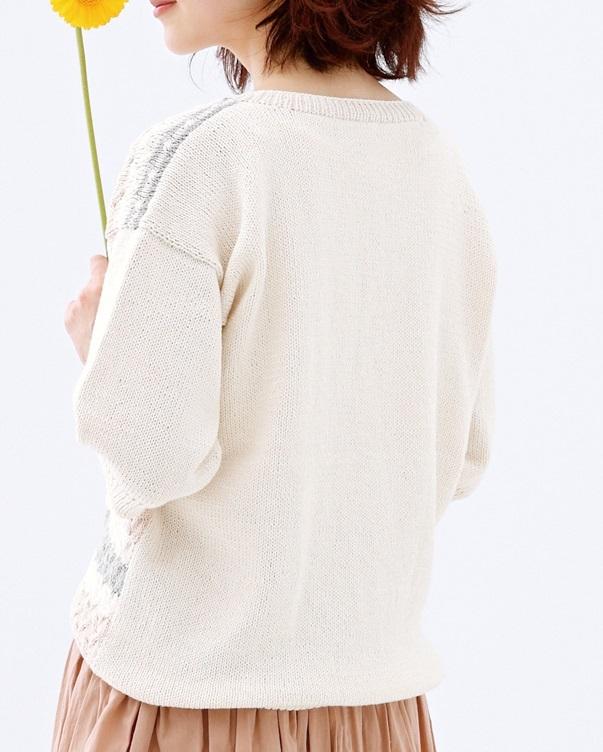 棒針編みメンズ無料編み図ピエロカルタユニセックスセーター後ろ