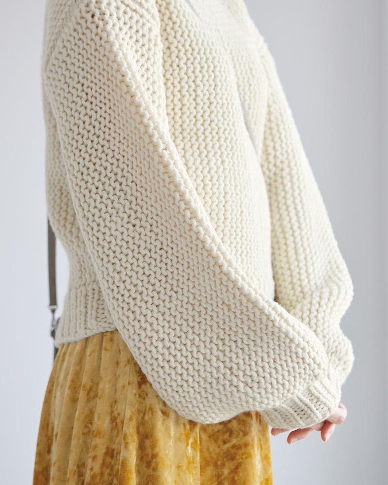 棒針編み無料編み図楽天毛糸ピエロレクレールバルーンスリーブセーター袖口