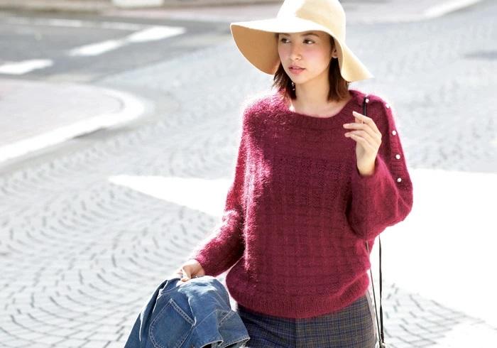 シルクとモヘヤのプルオーバー棒針編み無料編み図