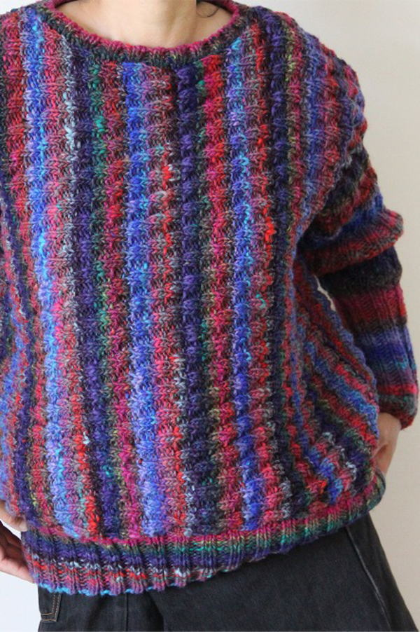 野呂英作編み物キット琴縦のラインの模様編みセーター