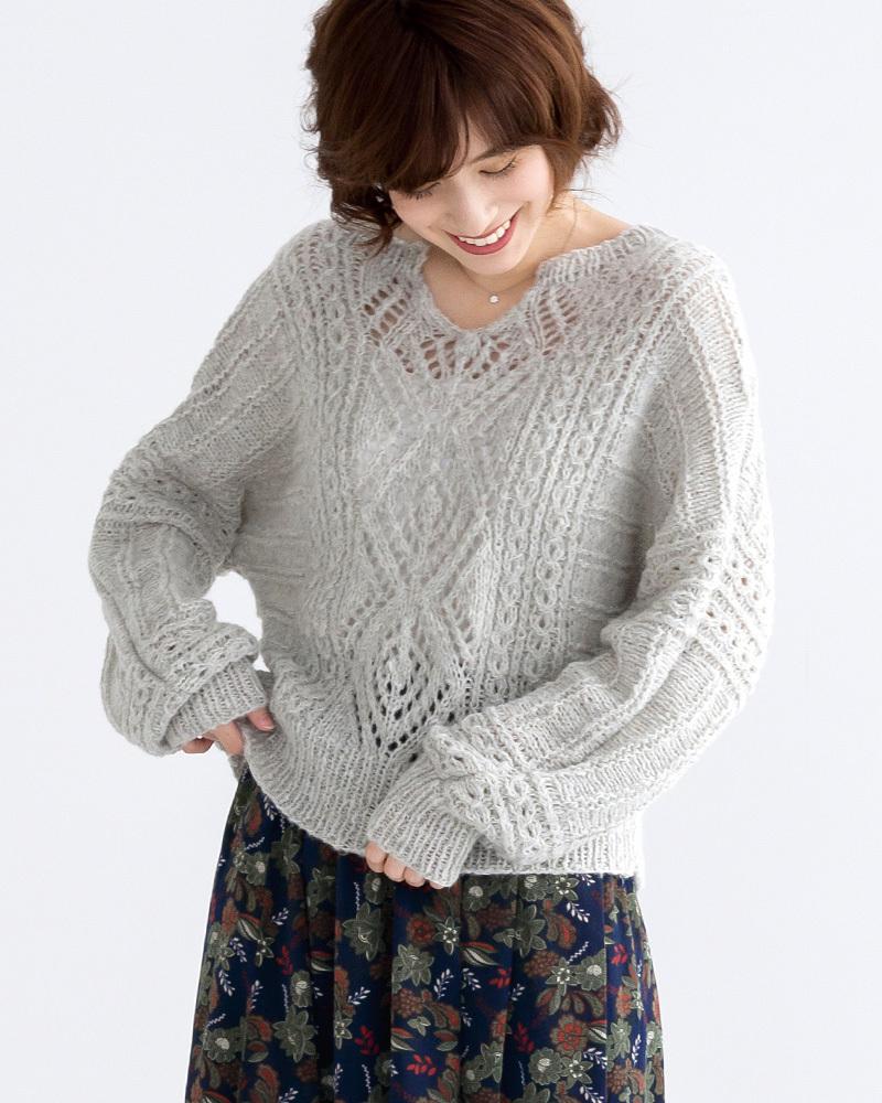 棒針編み無料編み図ピエロ純毛極細-Plus-ホイップスドルマンセーターゆるっと