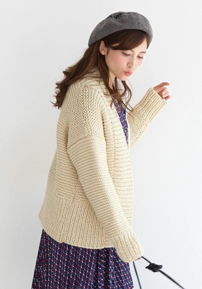 無料編み図棒針編み毛糸ピエログランディールカーディガン