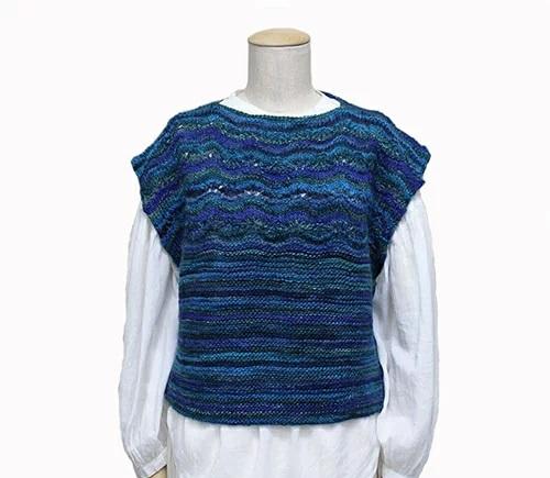 無料編み図パピーミレコロリレースガーターセーター