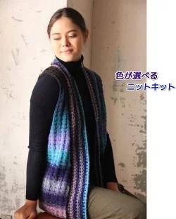 編み物キット野呂英作くれよん前立てが映えるベスト