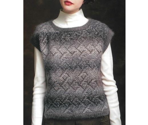 棒針編み無料編み図毛糸バカラエポック浮かび上がる模様のニュアンスが上品なベスト