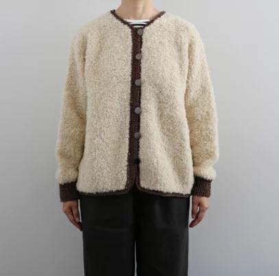 棒針編み無料編み図ダルマループとスプラウトのノーカラーボアジャケット