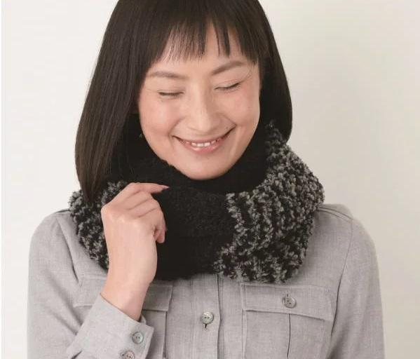 棒針編ハマナカ編み物キットメリノウールファーのバイカラースヌード