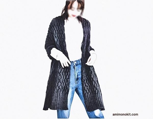 無料編み図大判ストール☆たっぷりサイズのアルパカ毛糸100%の羽織りもの小