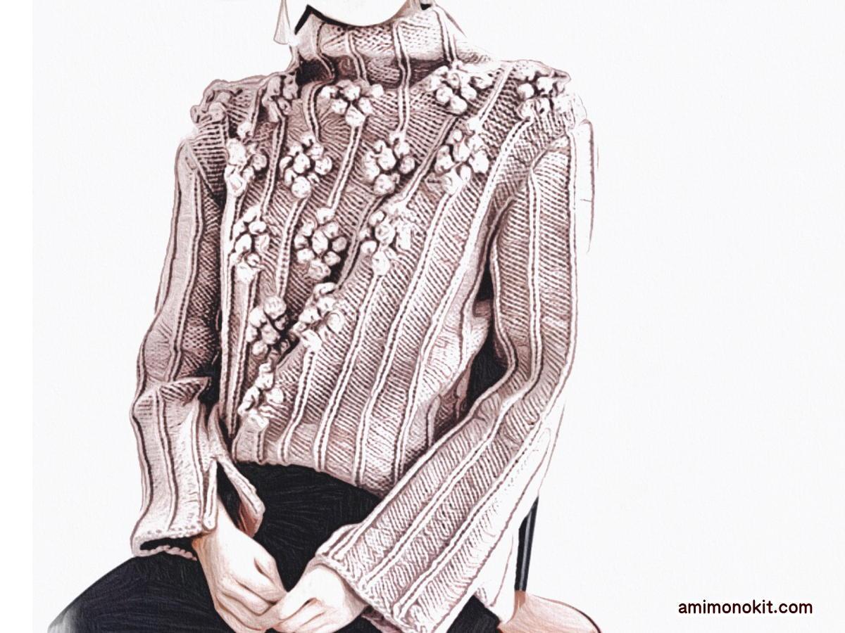 棒針編み無料編み図ベルスリーブセーター1