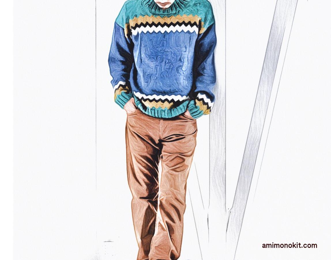 棒針編みメンズジグザグ編み込み無料編み図毛糸ピエロ2