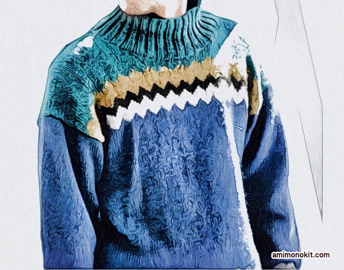 棒針編みメンズジグザグ編み込み無料編み図毛糸ピエロ4