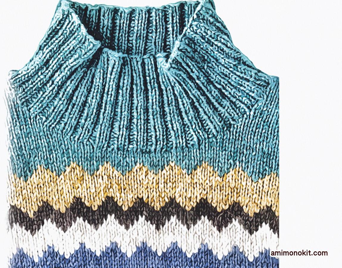 棒針編みメンズジグザグ編み込み無料編み図毛糸ピエロ3