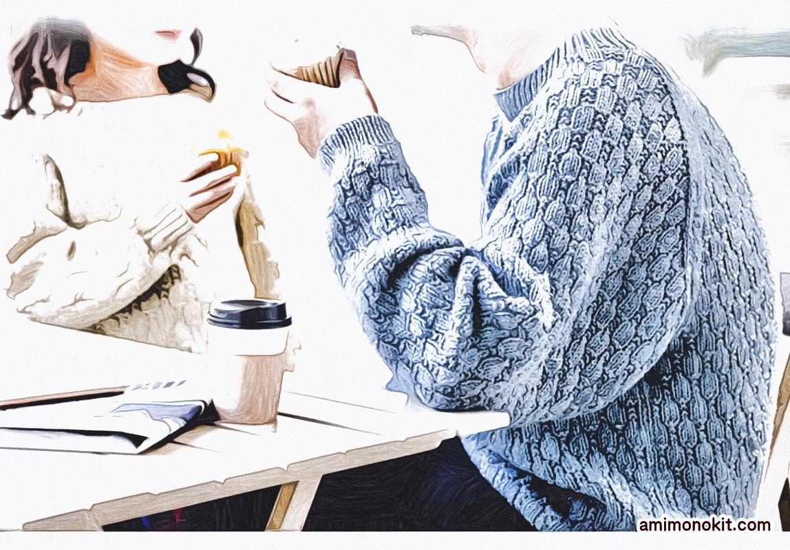 棒針編みペアで着られる手編みニット毛糸ピエロ楽天1