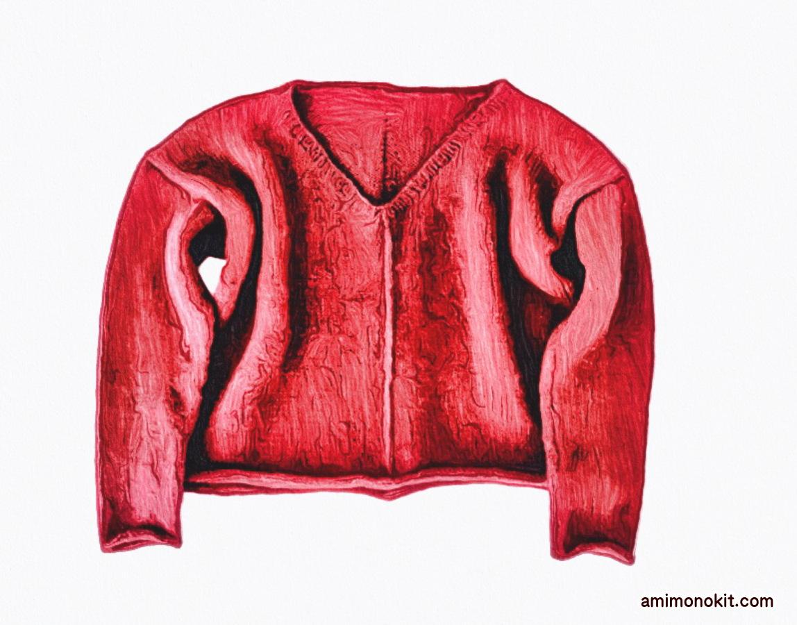 棒針編み無料編み図フロントラインセーター4
