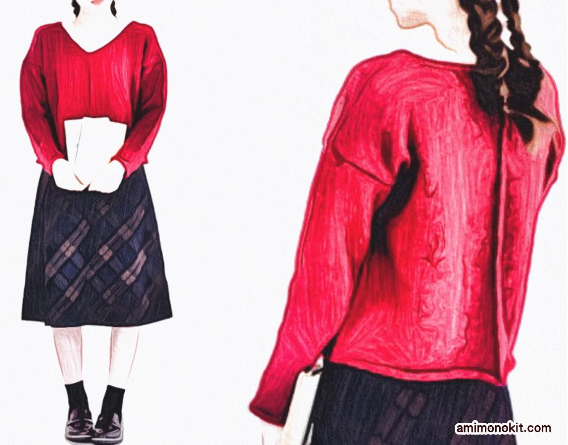 棒針編み無料編み図フロントラインセーター2