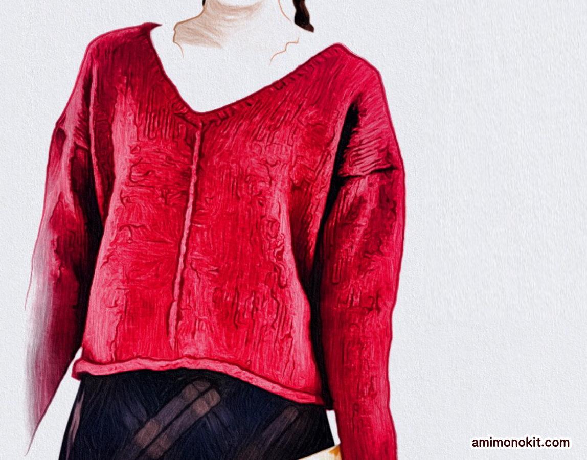 棒針編み無料編み図フロントラインセーター3