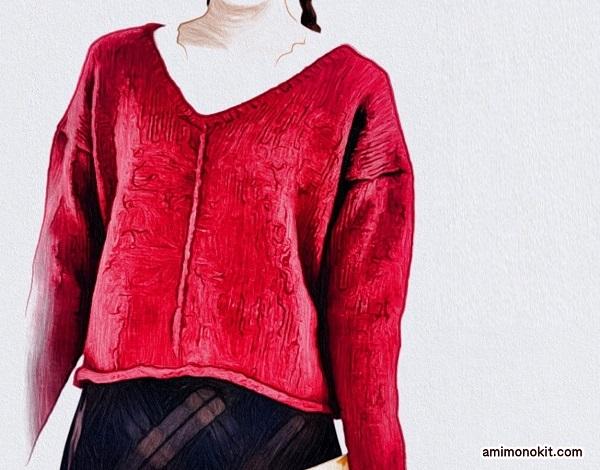 棒針編み無料編み図フロントラインセーター3小
