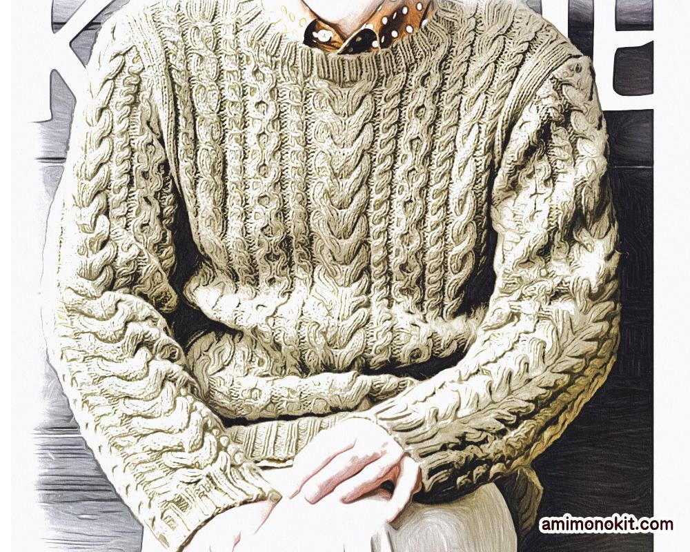 棒針編みメンズセーター毛糸アルパカ無料編み図2