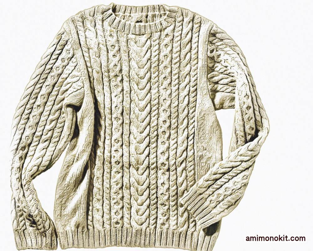 棒針編みメンズセーター毛糸アルパカ無料編み図3