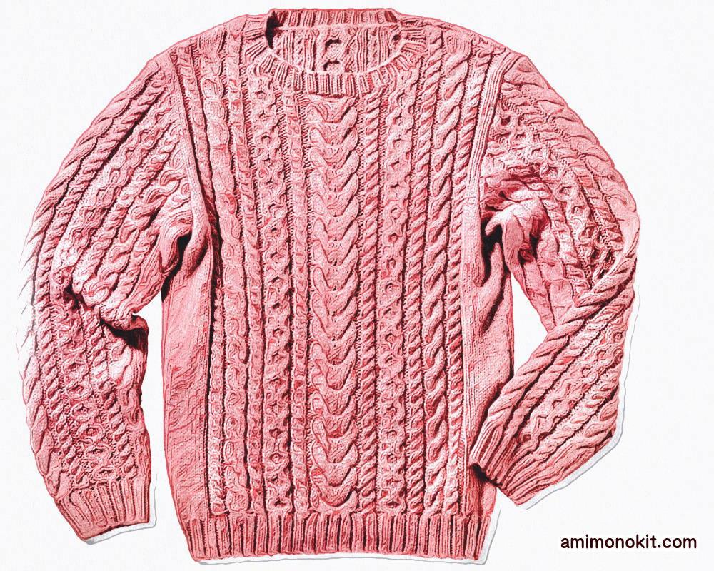 棒針編みメンズセーター毛糸アルパカ無料編み図4