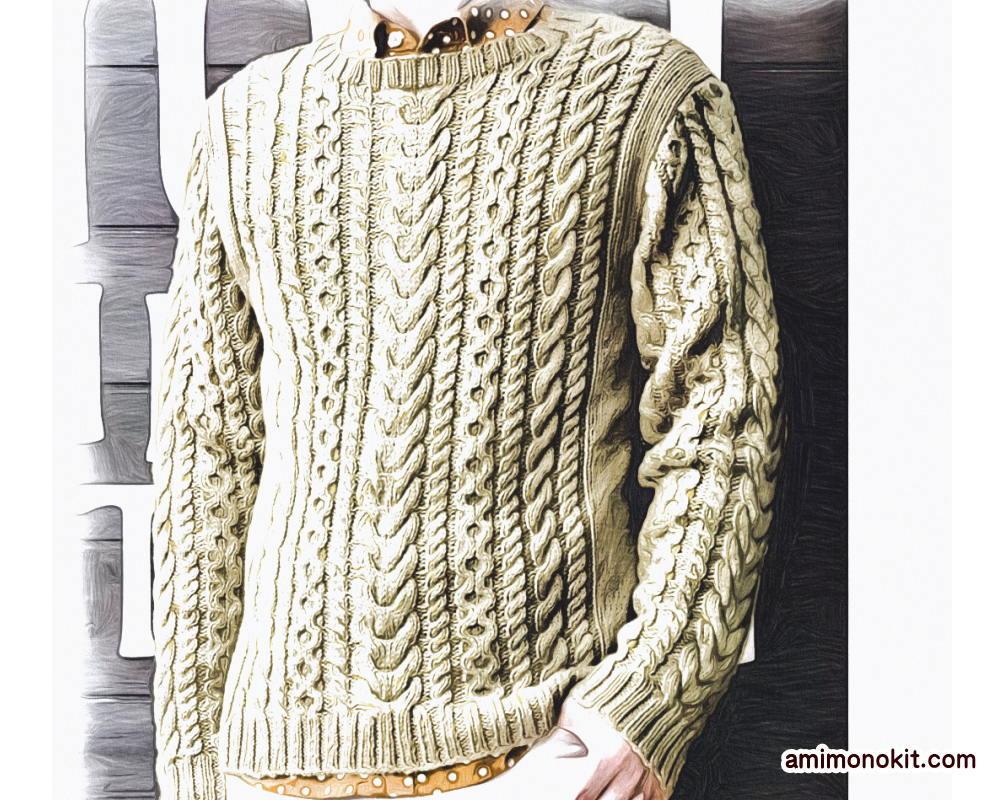 棒針編みメンズセーター毛糸アルパカ無料編み図1