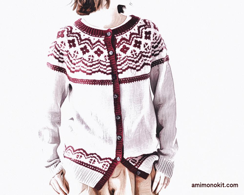 棒針編み無料編み図毛糸ピエロファインメリノ編み込みノルディックカーデ1