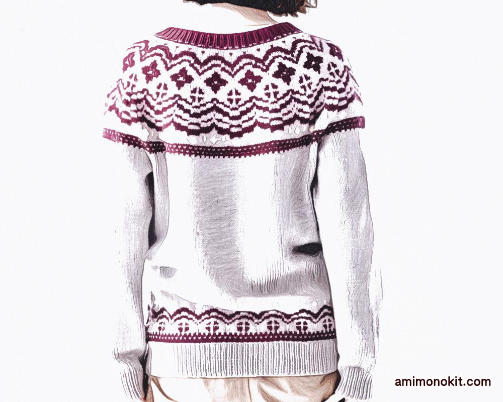 棒針編み無料編み図毛糸ピエロファインメリノ編み込みノルディックカーデ2