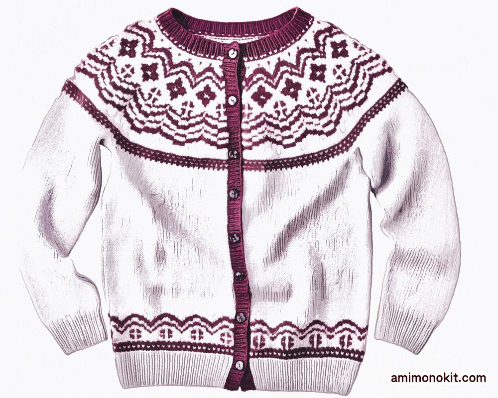 棒針編み無料編み図毛糸ピエロファインメリノ編み込みノルディックカーデ4