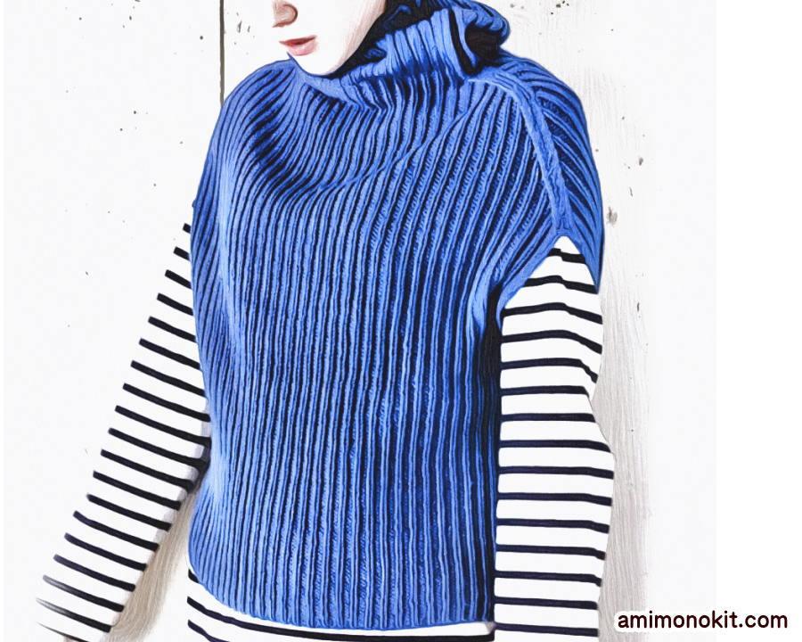 棒針編み簡単プル無料編み図ゴム編みで毛糸ピエロ楽天4