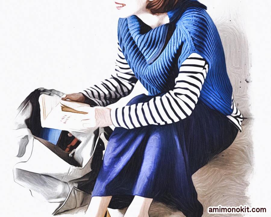 棒針編み簡単プル無料編み図ゴム編みで毛糸ピエロ楽天