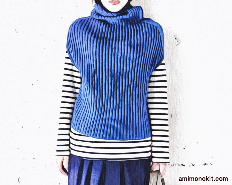 棒針編み簡単プル無料編み図ゴム編みで毛糸ピエロ楽天2