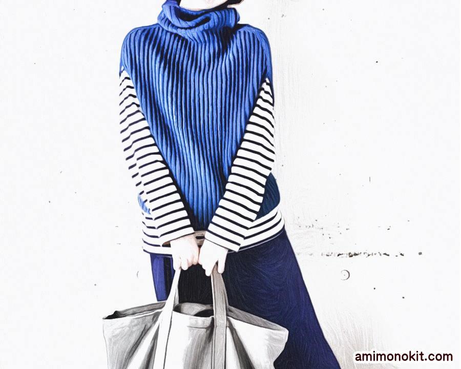 棒針編み簡単プル無料編み図ゴム編みで毛糸ピエロ楽天3