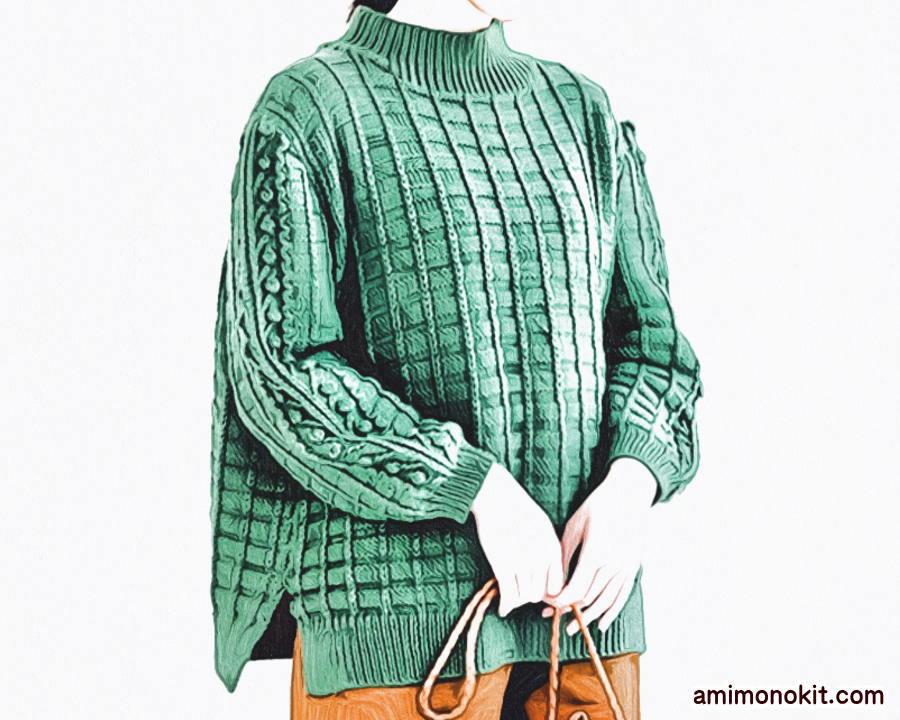 棒針編み毛糸ピエロ無料編み図グリッド&ボッブルセーター1