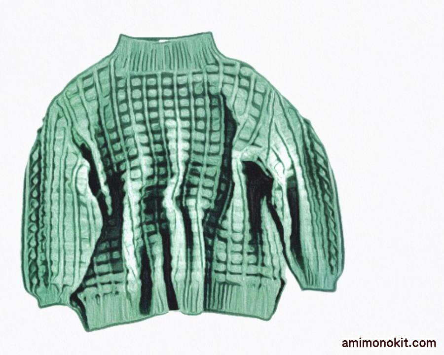 棒針編み毛糸ピエロ無料編み図グリッド&ボッブルセーター3