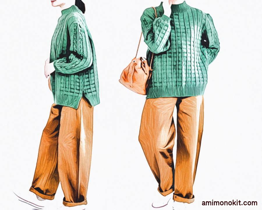 棒針編み毛糸ピエロ無料編み図グリッド&ボッブルセーター4