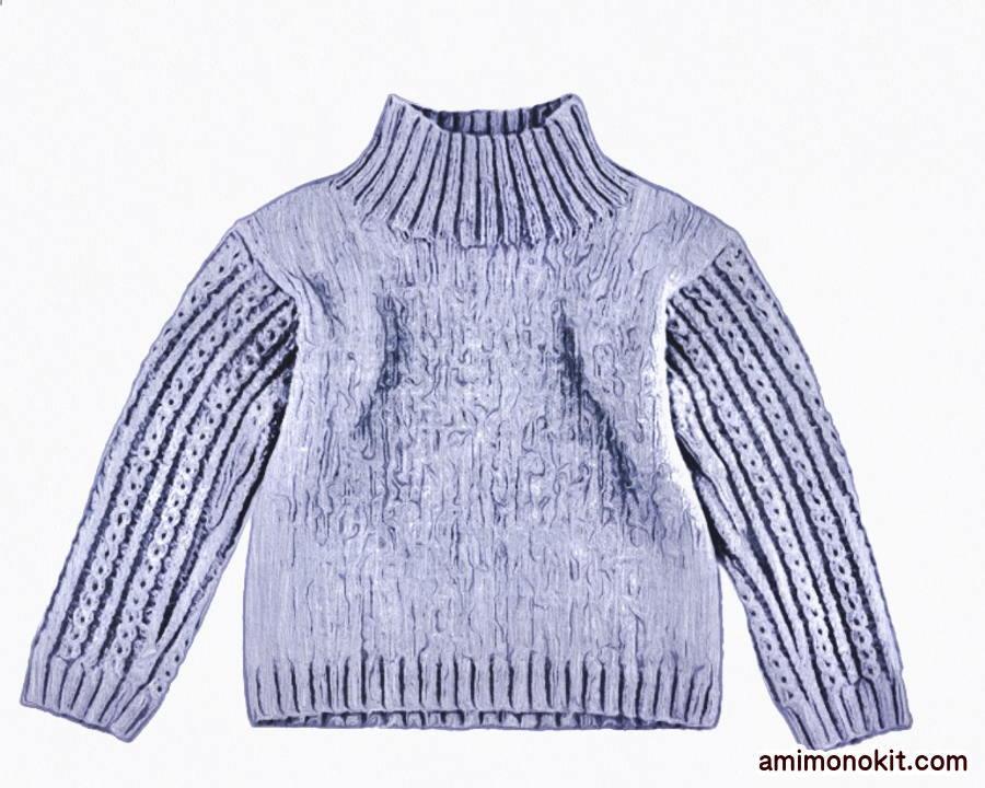 棒針編み無料編み図ハイネックセーター毛糸ピエロ楽天
