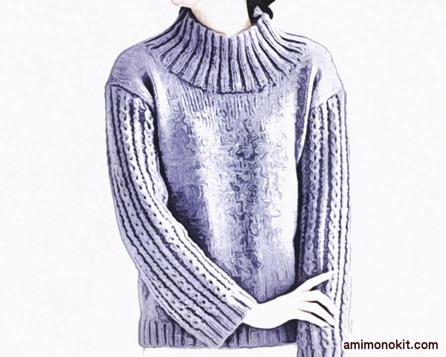 棒針編み無料編み図ハイネックセーター毛糸ピエロ楽天1