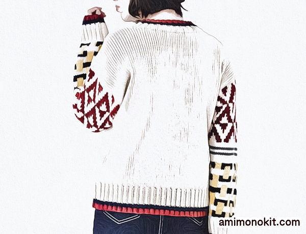 無料編み図棒針編みピエロニュイソフトメリノ幾何学模様のセーター4