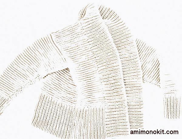 無料編み図棒針編み毛糸ピエログランディールカーディガン3