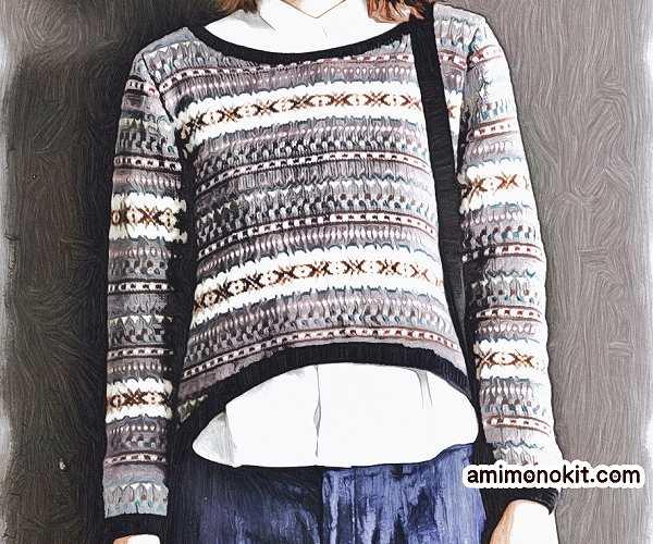 棒針編み無料編み図編み込み北欧風セーター毛糸ピエロ1
