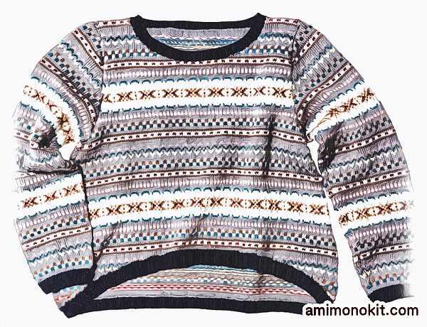 棒針編み無料編み図編み込み北欧風セーター毛糸ピエロ3