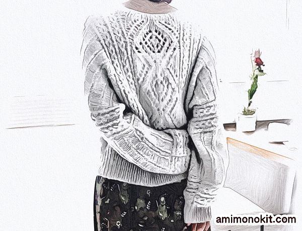 棒針編み無料編み図毛糸ピエロ純毛極細-Plus-ホイップスドルマンセーター2