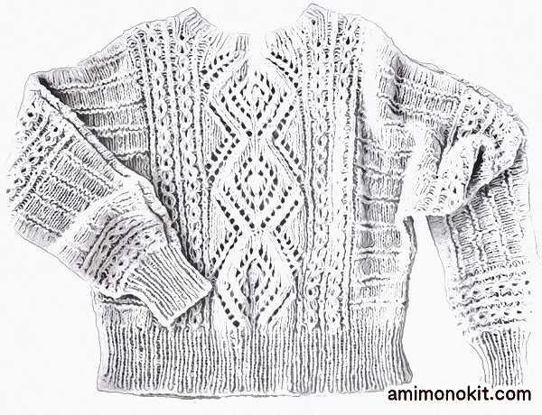 棒針編み無料編み図毛糸ピエロ純毛極細-Plus-ホイップスドルマンセーター4