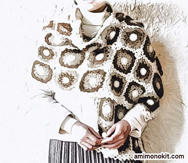 かぎ針編み無料編み図モチーフ編みの大判ショール楽天毛糸ピエロ1