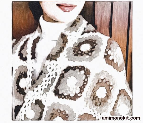 かぎ針編み無料編み図モチーフ編みの大判ショール楽天毛糸ピエロ2